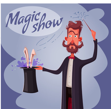 Circus poster with magician. Man holding a hat with rabbit. Cartoon vector illustration. Magic show. Illusionist make a trick 向量圖像