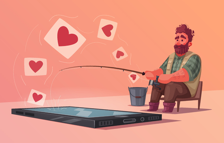 Fisherman with fishing rod. Fishing for compliments. Cartoon vector illustration. Likes on a social network.