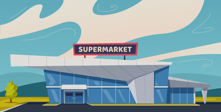 Modern supermarket building. Cartoon vector illustration. Food shop concept. For banners and posters 向量圖像