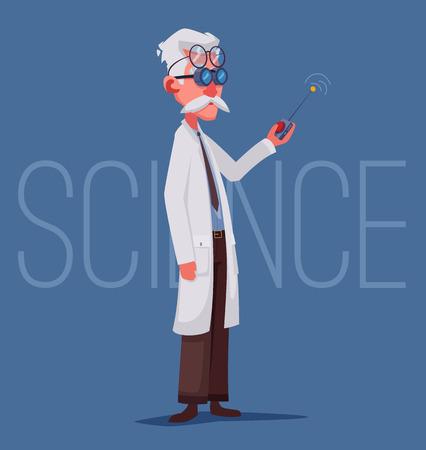 Wissenschaftler führt ein wissenschaftliches Experiment durch. Fernbedienung. Lustiger Charakter. Cartoon-Vektor-Illustration. Verrückter Professor. Person mit Brille