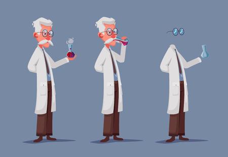 Scienziato pazzo beve pozione. Personaggio divertente. Fumetto illustrazione vettoriale. Professore pazzo. Esperimento scientifico. Uomo invisibile. Persona con gli occhiali. Vettoriali