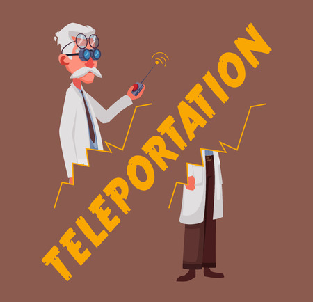 Crazy old scientist is teleporting. Funny character. Cartoon vector illustration. Mad professor. Science experiment. Person with glasses. Illustration