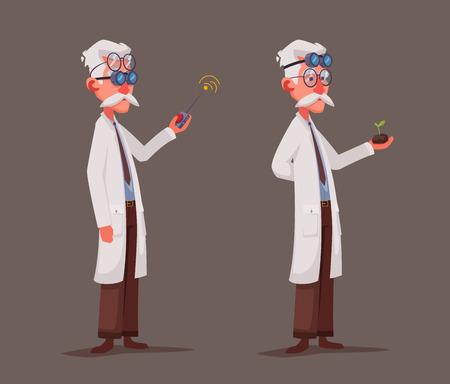 Scientist is conducting a scientific experiment. Remote controller. Funny character. Cartoon vector illustration. Mad professor. Person with glasses Vektorové ilustrace