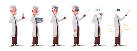 Lo scienziato sta conducendo un esperimento scientifico. Telecomando. Personaggio divertente. Fumetto illustrazione vettoriale. Professore pazzo. Persona con gli occhiali. Uomo invisibile