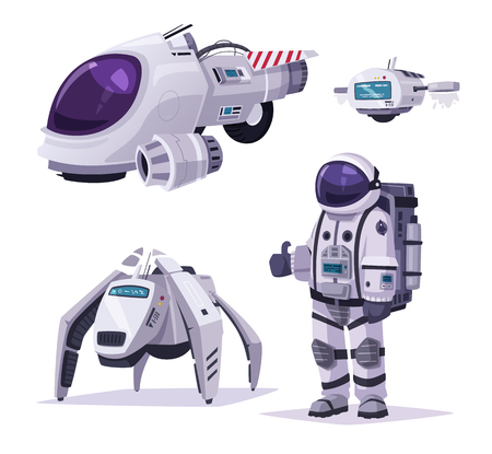 Carácter de cosmonauta, nave espacial y robots. Ilustración vectorial de dibujos animados Ilustración de vector