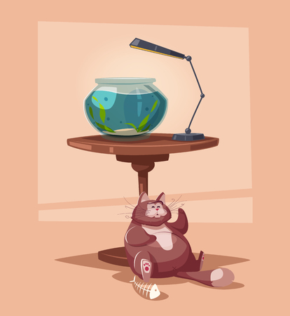 Aquarium with clear water on a table. Cartoon vector illustration
