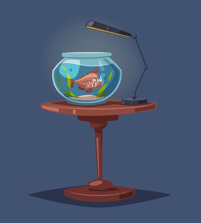 Aquarium mit klarem Wasser. Cartoon-Vektor-Illustration