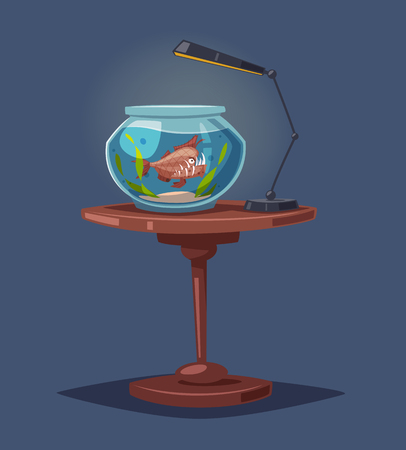Aquarium with clear water. Cartoon vector illustration