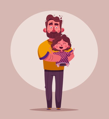 The best dad and daughter. Happy together. Cartoon vector illustration Stock Vector - 117426831