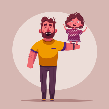 The best dad and daughter. Happy together. Cartoon vector illustration
