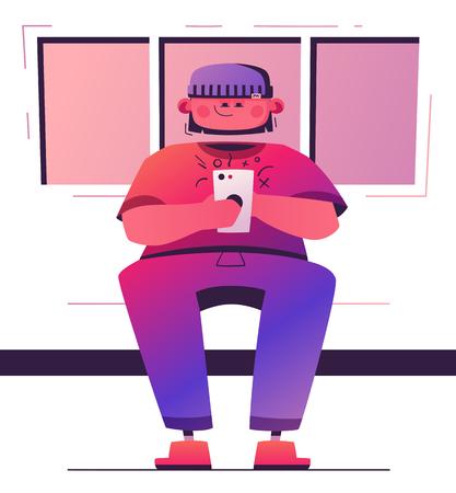 Man hold smartphone. Cartoon vector illustration. Character design Иллюстрация