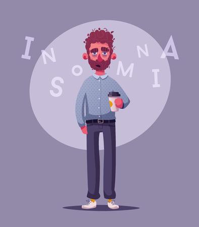 Sleepy businessman character. Cartoon vector illustration.