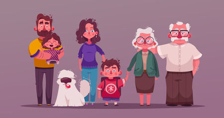 Big happy family together. Character design. Cartoon vector illustration
