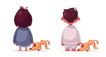 Peur. Cauchemar pour un enfant. Illustration vectorielle de dessin animé. Garçon et fille avec un jouet