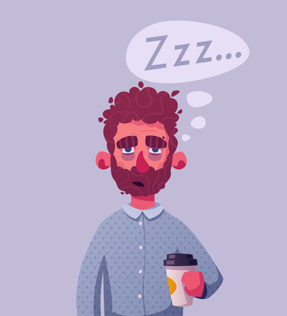 Sleepy businessman character. Cartoon vector illustration.