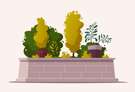 Beautiful plants. Cartoon vector illustration