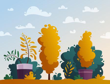 Beautiful plants. Cartoon vector illustration. Urban decoration. Exterior concept