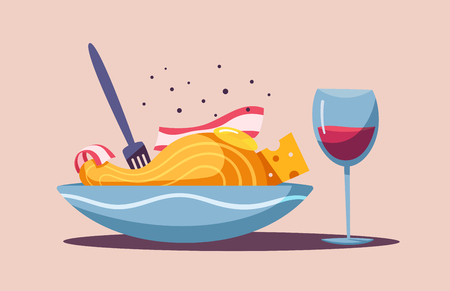 Italian cuisine. Delicious pasta. Cartoon vector illustration. Great dinner. For web and print. Fresh meal. Cook carbonara in restaurant 向量圖像