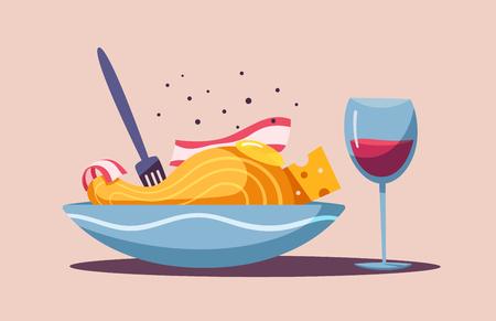 Italian cuisine. Delicious pasta. Cartoon vector illustration. Great dinner. For web and print. Fresh meal. Cook carbonara in restaurant Illustration