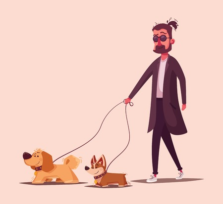 Man is walking with a dog. Cartoon vector illustration. Dog walker. Character design. Best friends. Funny person and cute dog