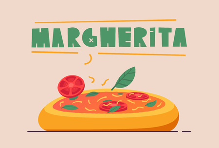 Italian cuisine. Delicious pizza. Cartoon vector illustration. Great dinner. For web and print. Fresh meal. Cook Margherita in restaurant Illustration