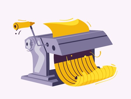 Italian cuisine. Making delicious pasta. Cartoon vector illustration. Great dinner. For web and print. Fresh meal. Homemade cooking. Pasta machine Illustration