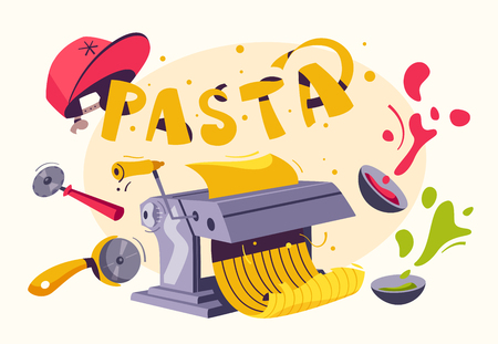 Italian food. Making delicious pasta. Cartoon vector illustration.