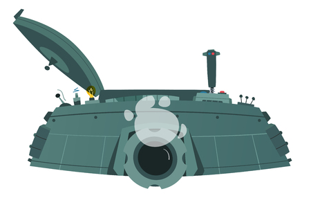 Character playing game on a panzer desk. Cartoon vector illustration. Gamer controls. Gaming concept.