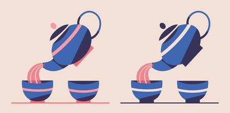 Japanese or Chinese tea set. Flat vector illustration. Teapot pouring green tea in cups. Retro style. Tea ceremony Çizim