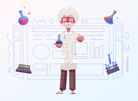 Smart scientist character. Cartoon vector illustration. Doctor is researching or doing an experiment on a screen. Science and technology concept Vektorové ilustrace