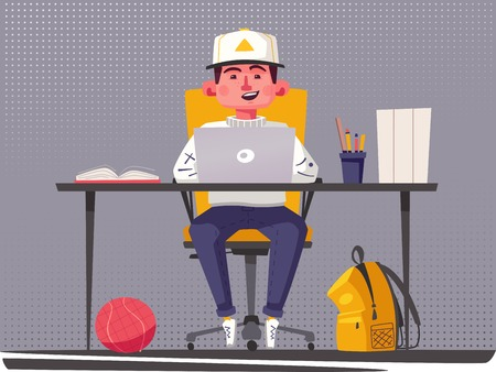 Student or schoolboy studying at the computer. Cartoon vector illustration. Teenager character sitting at desk. Homework and learning concept.