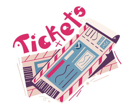 Two tickets. Cartoon vector illustration. Event and travel concept. For web and print. Cinema, theatre, concert, air ticket.