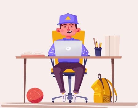 Étudiant ou écolier étudiant à l'ordinateur. Illustration vectorielle de dessin animé. Caractère d'adolescent assis au bureau. Concept de devoirs et d'apprentissage.