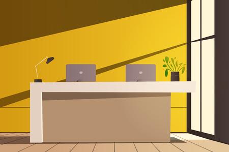 Reception desk. Cartoon vector illustration. Interior design.
