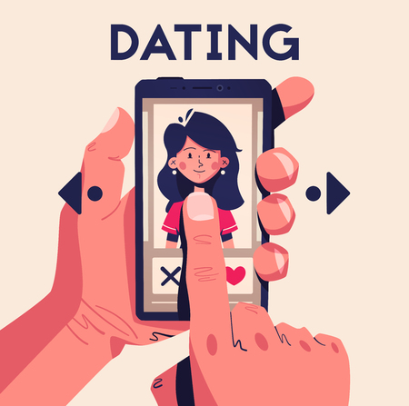 Dating application concept. Choose your soulmate. Cartoon vector illustration