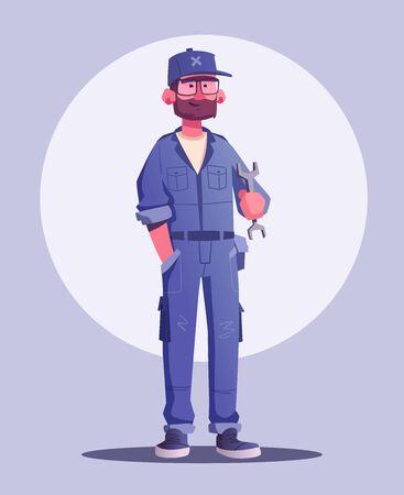 Car repair shop. Cartoon vector illustration. Garage indoor. Mechanic character design. Male happy engineer. Auto service. Service concept Banco de Imagens - 124977315