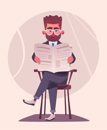 Businessman is reading a newspaper. Cartoon vector illustration. Character design. Breaking news. Business information