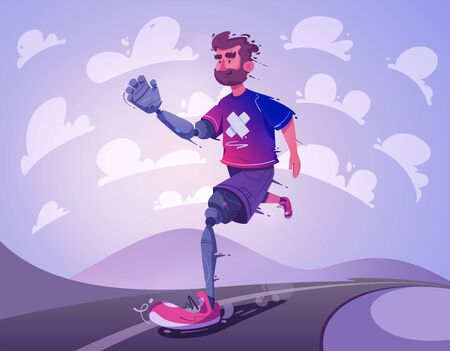L'homme avec une prothèse court. Notion de sport. Illustration vectorielle de dessin animé. Handicapé. Conception de personnages. Sportif avec une jambe et un bras mécaniques