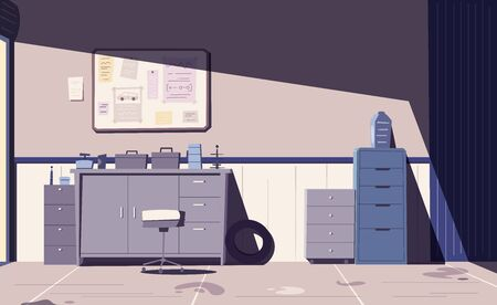 Car repair shop. Cartoon vector illustration. Garage indoor. Auto service. Service concept Stock Illustratie