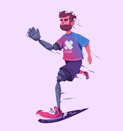 Man with a prosthesis is running. Sport concept. Cartoon vector illustration. Stock Illustratie