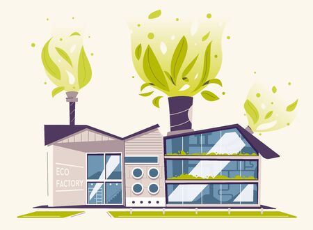 Modern green eco factory building. Cartoon vector illustration. Plants from pipes. Industrial architecture. Exterior design