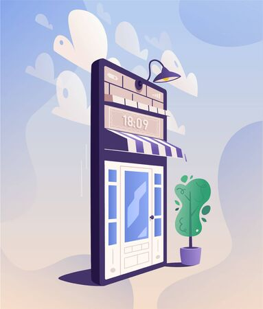 Online shopping. Big smartphone turned into internet shop with door. Cartoon vector illustration