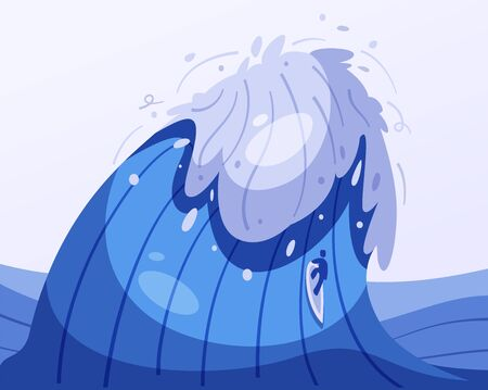 Surfing concept. Cartoon vector illustration. Catch the wave. Blue sea or ocean