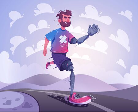 Man with a prosthesis is running. Sport concept. Cartoon vector illustration. Disabled person. Character design. Sportsman with a mechanical leg and arm
