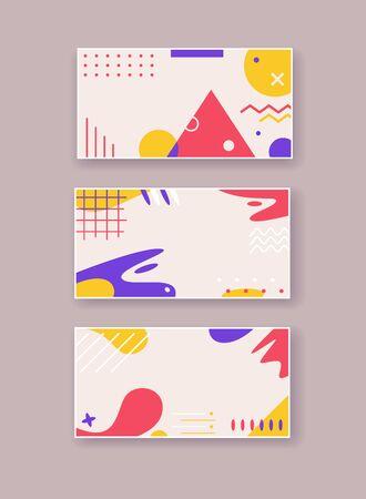 Geometric elements abstract flat vector backgrounds set Illusztráció