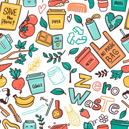 No plastic campaign flat vector seamless pattern. Garbage sorting containers cartoon illustrations. Reducing food waste. Using eco-friendly materials. Nature protection wallpaper design layout Ilustração