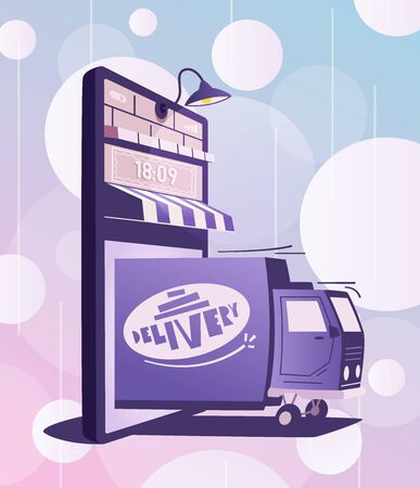 Online delivery. Big smartphone turned into internet shop. Cartoon vector illustration. Concept of mobile digital marketing and e-commerce. Supermarket in device. Awning above online store front door Ilustracja