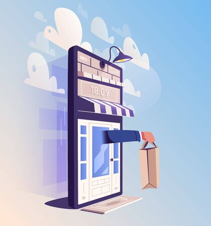 Online shopping. Big smartphone turned into internet shop. Cartoon vector illustration. Concept of mobile digital marketing and e-commerce. Supermarket in device. Awning above online store front door Ilustracja