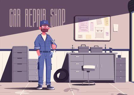 Car repair shop. Cartoon vector illustration. Garage indoor. Mechanic character design. Male happy engineer. Auto service. Service concept Foto de archivo - 129116171