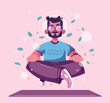 Meditation health benefits for body, mind and emotions. Cartoon vector illustration